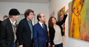 From left to right: Artist Felim Egan, actor Stephen Rea, Palestinian ambassador to Ireland Ahmed Abdelrazek and Claudia Saba from Gaza Action Ireland. Photograph: Aidan Crawley