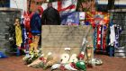 A tribute to the 96 fans who died during the Hillsborough disaster, outside the ground today before the Sky Bet Championship match at Hillsborough, Sheffield. Photograph: PA Wire