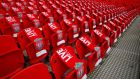 Ninety-six Liverpool scarves are placed on seats on the 25th anniversary of the Hillsborough disaster before the FA Cup semi-final  between Arsenal and Wigan Athletic at Wembley Stadium. Photograph: Eddie Keogh/Reuters