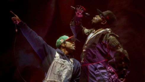 Andre 3000 (left) and Big Boi of Outkast perform. Photograph: Karl Walter/Getty Images