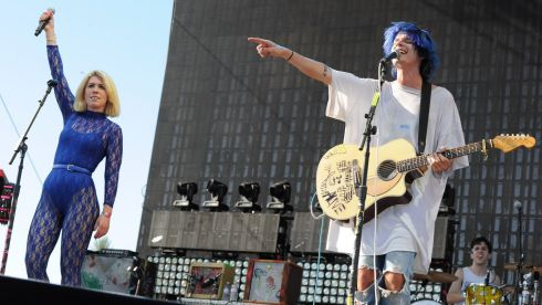 Hannah Hooper (left) and Christian Zucconi of Grouplove.  Photograph: Kevin Winter/Getty Images