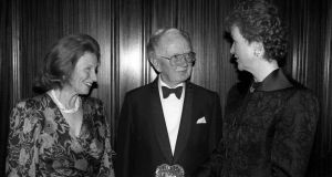 Jacqueline O'Brien with  Vincent O'Brien and the then president Mrs Mary Robinson. Photograph: Alan Betson