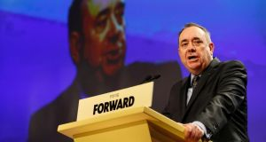 Scottish first minister Alex Salmond delivers his speech at the Scottish National Party spring conference in Aberdeen. Photograph: Reuters/Russell Cheyne