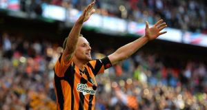 David Meyler of Hull City celebrates scoring the fifth   at Wembley. Photograph:  Shaun Botterill/Getty Images