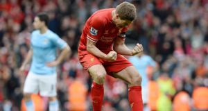 A pumped-up Steven Gerrard shows just how much yesterday's 3-2 victory over City means at the final whisltle.