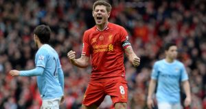 Steven Gerrard reacts at the final whistle as Liverpool beat Manchester City 3-2 yesterday
