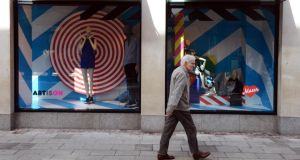 The finished art installation by Maser in the windows of Brown Thomas. Photograph: Eric Luke