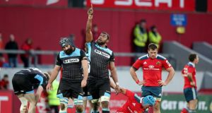 Glasgow Warriors' Leone Nakarawa celebrates after defeating Munster at Thomond Park. Photograph: Inpho