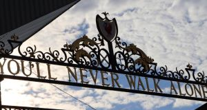 A general view of the Shankley Gates outside Anfield Stadium home of Liverpool FC. Photograph: Peter Byrne/PA Wire.