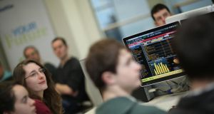 Students in the trading room at the UCD Quinn School of Business