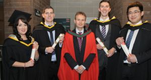 The first graduates of an NUI Galway/ UL joint programme, MSc in Finance & Information Systems, who were conferred at UL in January this year, Jamie Hennessy, David Ryan, Dr Murray Scott, Aidan Reilly, and Xudong Li