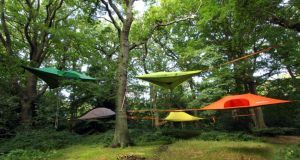 THREE OF THE BEST ... TENTS  The Tentstile Stingray tree tent takes camping off the soggy ground and up into the canopy. Available in 10 colours the design offers occupants a very spacious hammock floor, accessed via a hatch below. It can be suspended at any height and can also be pitched on the ground. The Stingray can accommodate three adults or a family of two adults and two children with a maximum load of 400 kg. It costs about €576 (£475), ex delivery, from UK-based Big Fire (0044-1395 275300 bigfire.co.uk)