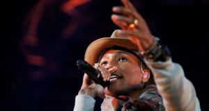 Pharell Williams preforms. Photograph: Emily Berl/ The New York Times