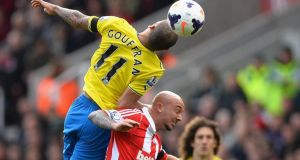 Stephen Ireland of Stoke City battles with Yoan Gouffran of Newcastle United during the Barclays Premier League match. Photograph:   Laurence Griffiths/Getty Images