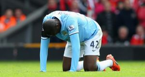 Yaya Toure of Manchester City is likely to miss around two weeks of football. Photograph:  Alex Livesey/Getty Images