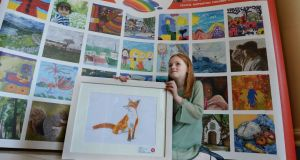 Texaco art winner Ava Henson, (8) from The Harold School, Glasthule winner of thecategory E Photograph: Cyril Byrne / THE IRISH TIMES
