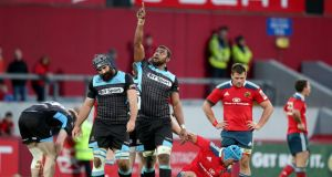 Leone Nakarawa of Glasgow Warriors celebrates as his team beats Munster in Pro12 clash last week. photograph: dan sheridan/inpho
