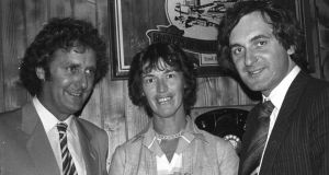 Vincent Browne (left), then-editor of Election '82 , with  Nora Owen and  Bertie Ahern. Photograph: The Irish Times