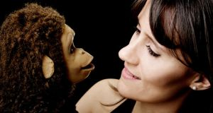 Ventriloquist Nina Conti with her most famous puppet, Monkey.
