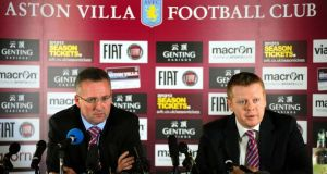 Aston Villa manager Paul Lambert (left) with Chief Executive Paul Faulkner.   Photograph: Rui Vieira/PA Wire.