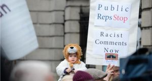 A protest by Travellers and supporters outside Dáil Éireann last year. Photographer: Dara Mac Dónaill