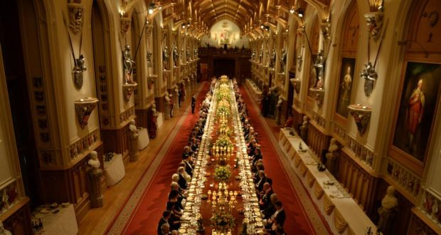 'There is an island in the south Pacific whose people adhere to a cargo cult and – so it's said – regard the queen's husband as a god. We are not there yet, but it's early days.' Above,  the banquet held at Windsor Castle during the State visit of President Higgins. Photograph: Alan Betson