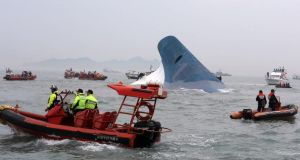 A rescue operation is under way after the ferry Sewol sank in waters off Jindo Island in Souuth Korea. Photograph: Yonhap/EPA