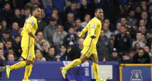 Crystal Palace's Jason Puncheon (right) scored his fourth goal in three games at Goodison Park. Photograph: Barry Coombs/PA Wire.