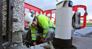 Workers install water meters outside houses in Fortlawn Estate near Blanchardstown, west Dublin, earlier this year. Picture Colin Keegan/ Collins Dublin. Workers install water meters outside houses in Fortlawn Estate near Blanchardstown, west Dublin, earlier this year. Photograph: Colin Keegan/Collins Dublin
