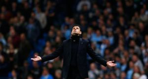 Sunderland manager Gus Poyet during the 2-2 draw with Manchester City at Etihad Stadium. Photograph: Darren Staples/Reuters