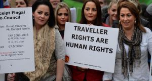 National and local Traveller organisations protesting in Dublin last year. An Oireachtas Committee is calling for Traveller ethnicity to be recognised. Photograph: Dara Mac Dónaill