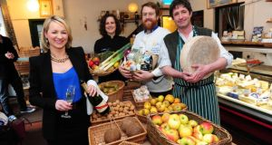 Margaret Jenkins, House Hotel;  Heather Flaherty, McCambridges; JP McMahon, EAT Galway, and Seamus Sheridan, Sheridans Cheesemongers at  the launch of the Galway Food Festival, which begins today