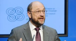 "European Parliament president Martin Schulz: ""It's not on that the public purse drops out as an investor in crisis countries and that private companies cannot invest in these countries because of the credit crunch."" Photograph: Alan Betson"