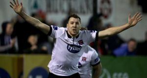 Dundalk's Brian Gartland celebrates scoring a goal against Derry. Photo: Morgan Treacy/Inpho