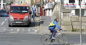 Cycling against the traffic on Dublin's south quays. Photograph: Dave Meehan