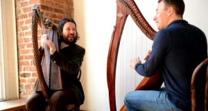 Strings attached: Patrick Freyne (left) and Cormac de Barra enjoying a harmonious session together. Photographs: Eric Luke