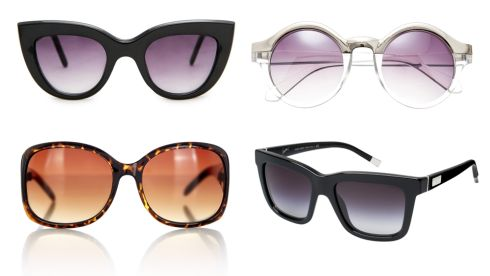 (R-L, top to bottom) Cat's eye frames, €24.99, Mango at Clearys Metal-top round glasses, €16.86, asos.com Brown pyramid glasses, €20, Oasis Black framed glasses, €315, Giorgio Armani at Brown Thomas
