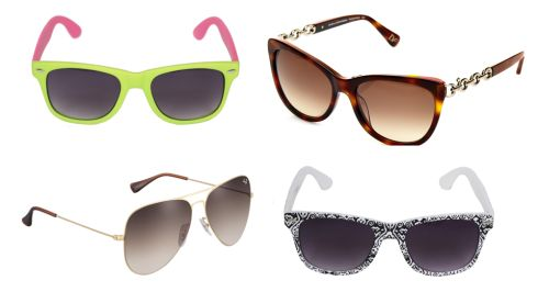 (R-L, top to bottom) Bright two-tone, €1.50, Penneys (In stores end of April) Tanya glasses, €139, DVF at Arnotts Gold-framed aviators, €170, Ray-Ban Monochrome retro frames, €1.50, Penneys
