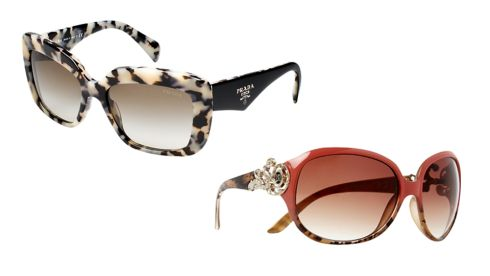 (R-L, top to bottom) Tortoise shell glasses, €205, Prada at Brown Thomas Coral glasses, €20, River Island