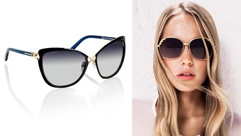 (R-L) Celia glasses, €330, Tom Ford at Brown Thomas Gallop glasses, €45, Dune