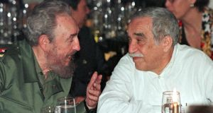2000: Cuban president Fidel Castro chats with  Garcia Marquez over dinner in  Havana