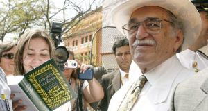 2007: Garcia Marquez  poses with a special edition of his most famous book 'One Hundred Years of Solitude' in Cartagena de Indias, Colombia.