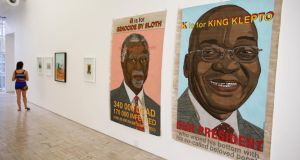 An artwork created by South African artist Anton Kannemeyer depicting South Africa's president Jacob Zuma (right) and his predecessor Thabo Mbeki at the Stevenson gallery in Cape Town, South Africa.  Photograph: Nic Bothma/EPA