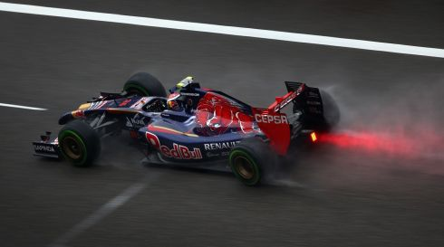 On fire: Daniil Kvyat of Russia and Scuderia Toro Rosso drives during qualifying ahead of the Chinese Formula One Grand Prix. Photograph: Clive Mason/Getty Images