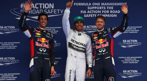 Left to right are Daniel Ricciardo of Australia,  Lewis Hamilton of Great Britain  and Sebastian Vettel of Germany, top qualifiers for the Chinese Formula One Grand Prix. Photograph: Mark Thompson/Getty Images