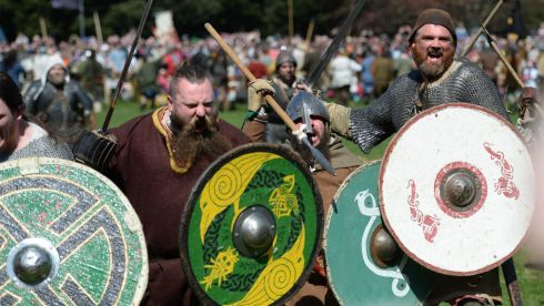 More than 500 Vikings descended on St Anne's Park, Raheny this Easter Weekend as Dublin City Council staged the largest-ever living history battle re-enactment in Ireland at the Battle of Clontarf Festival. Photograph: Dara Mac Donaill / The Irish Times