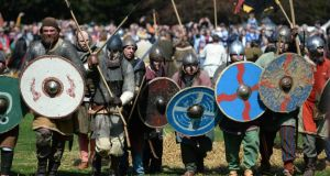 More than 500 Vikings and Irish army men descend on St Anne's Park, Raheny this Easter Weekend for  the largest ever Irish battle re-enactment at at the Battle of Clontarf Festival. Photograph: Dara Mac Dónaill / The Irish Times