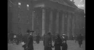 A still from one of the films taken by British Pathé around the time of the Easter Rising.