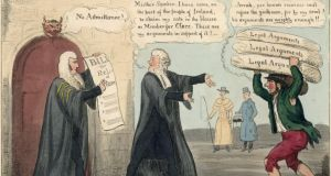 A cartoon from May 1829 depicting Daniel O'Connell (centre) arriving to take his seat in parliament after the passing of the Catholic Emancipation Act in April 1829.  Looking on from the middle distance are British prime minister, the Duke of Wellington (1769-1852), and home secretary and leader of the House of Commons, Sir Robert Peel (1788-1850). Photograph: Hulton Archive/Getty Images