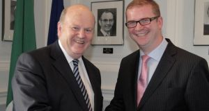 Minister for Finance Michael Noonan with Northern Ireland MInister for Finance Simon Hamilton.